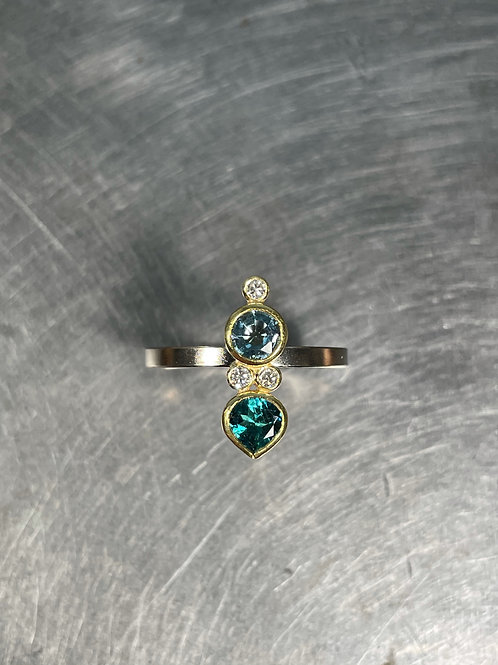 Aquamarine, Blue Tourmaline, Diamond Ring