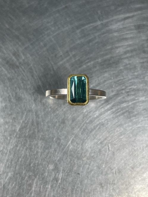 Steel Blue Tourmaline Ring