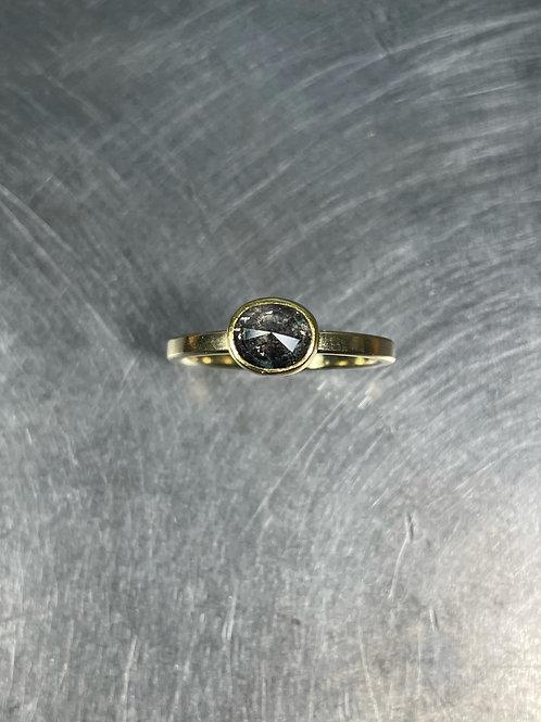 Grey Diamond Oval Ring