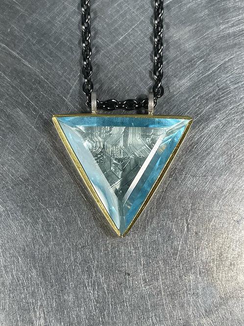 Aquamarine Pendant with Engraving
