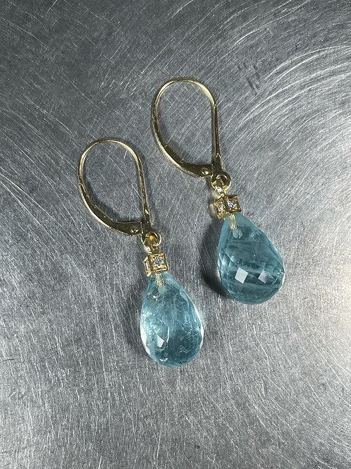 Aquamarine and Diamond Cube Earrings