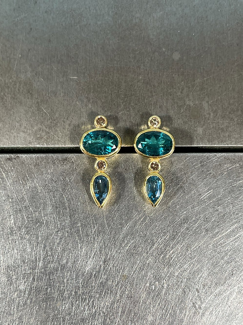 Tourmaline, Aquamarine, Brown Diamond Stud Earrings