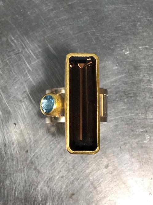 Smokey Quartz, Aquamarine Ring