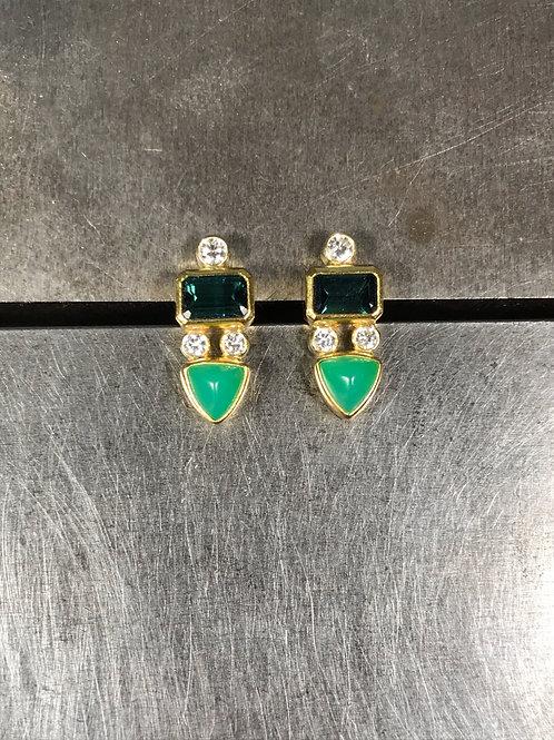 Chrysoprase, Blue Tourmalines, Diamond Stud Earrings
