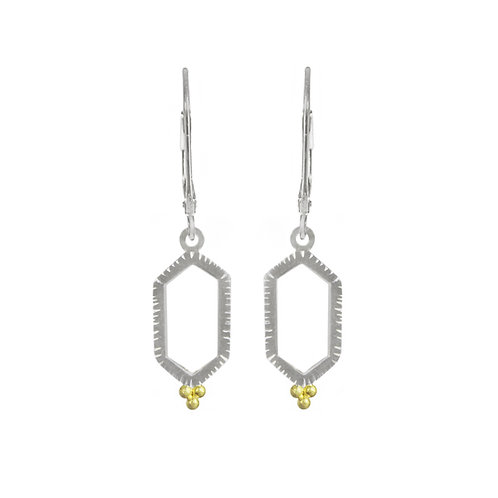 Hexagon Earrings with Three Gold Balls