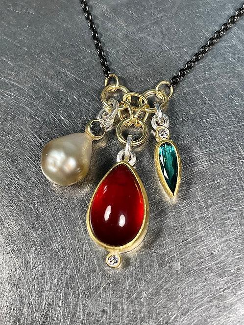 Hessonite Garnet, Tourmaline, Pearl, Grey and White Diamond Pendant