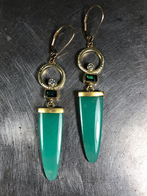 Chrysoprase, Blue Tourmalines, Grey Diamonds Earrings