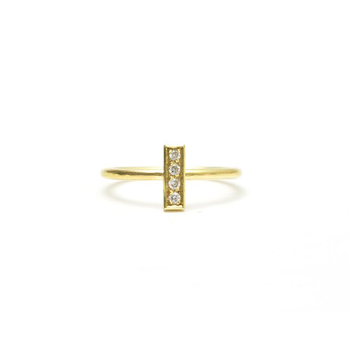 4 Pave Diamond Bar Ring
