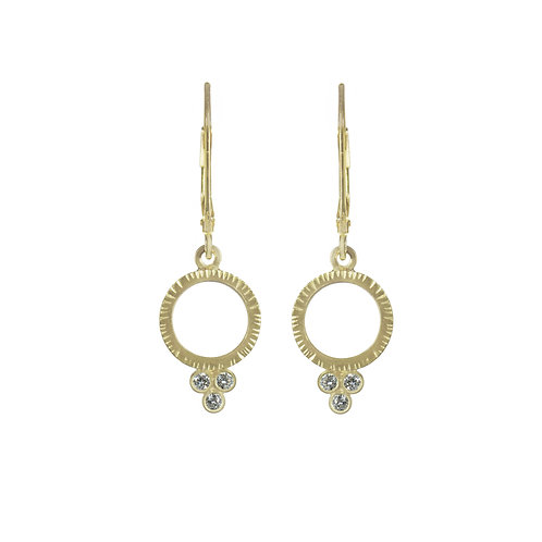 Circle Earrings with Three Diamonds