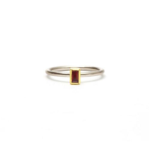 Baguette Orange Sapphire Ring
