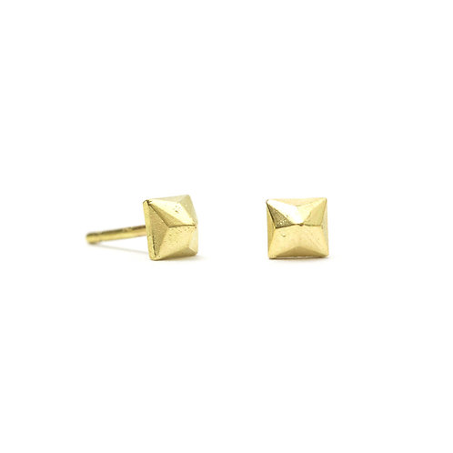 Square Cast Diamond Stud Earrings