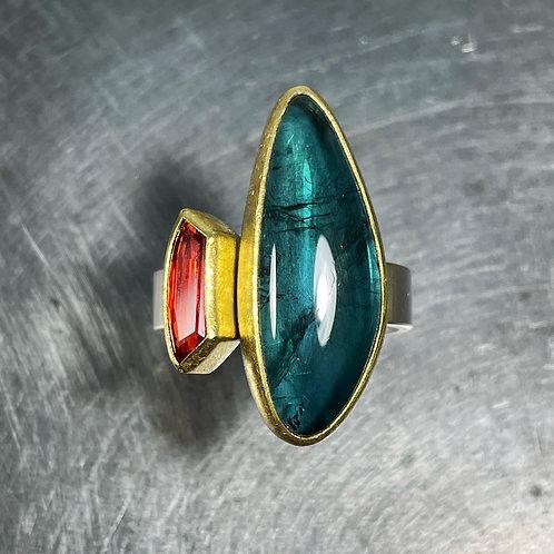 Tourmaline and Orange Sapphire Ring