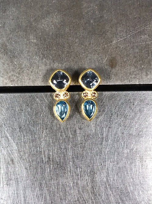 Spinel, Aquamarine, Brown Diamond Stud Earrings