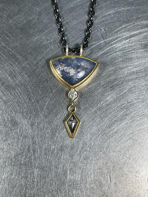 Dumortierite in Quartz, Grey and White Diamond Pendant