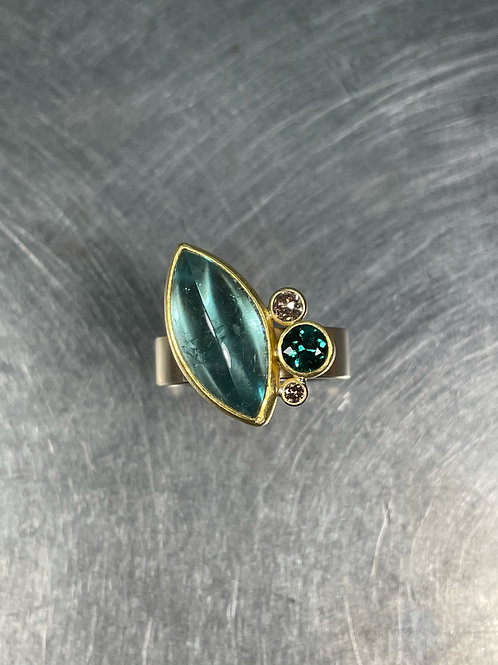 Tourmaline and Brown Diamond Ring
