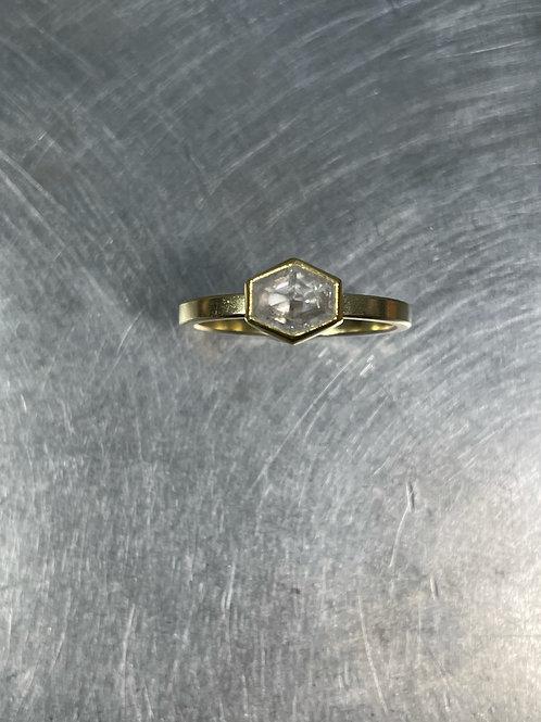Icy Grey Diamond Hexagon Ring