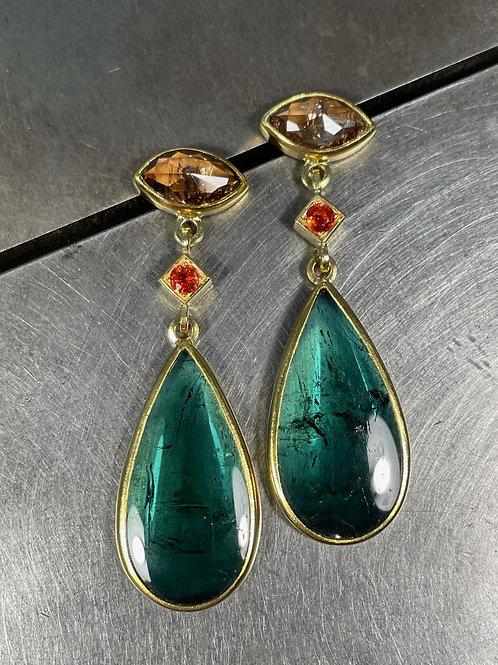 Tourmaline, Brown Diamond, and Orange Sapphire Earring