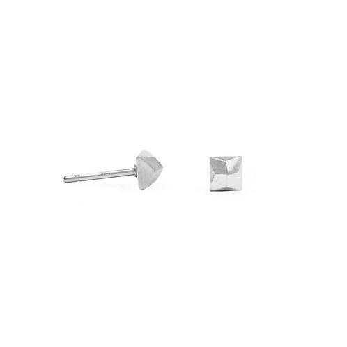 Square Cast Diamond Stud Earrings