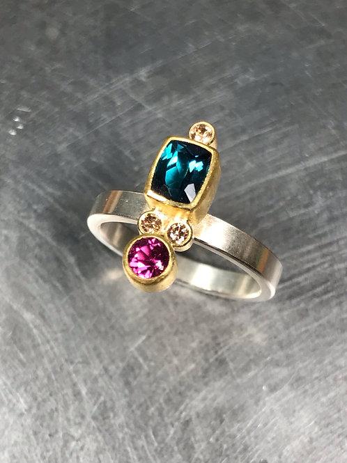 Blue and Pink Tourmaline, Brown Diamonds Ring