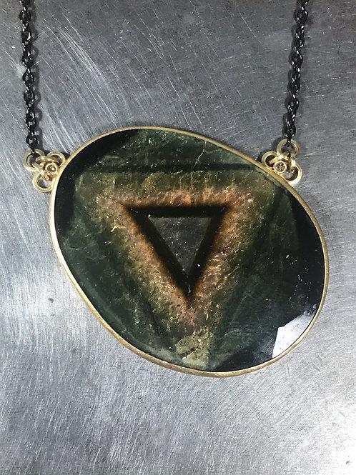 Liddicoatite Tourmaline Slice, Brown Diamond Pendant