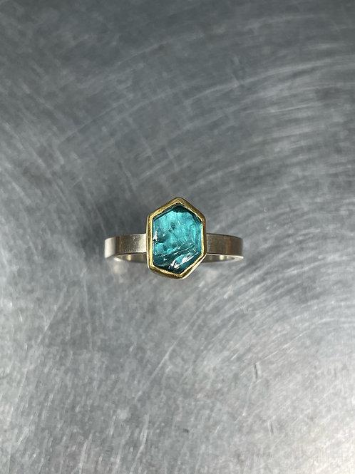 Blue Tourmaline Crystal Ring