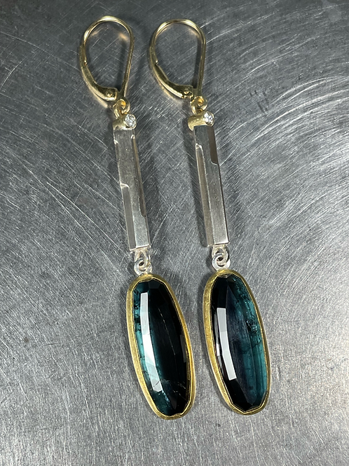 Blue-Black Tourmaline and Diamond Earrings