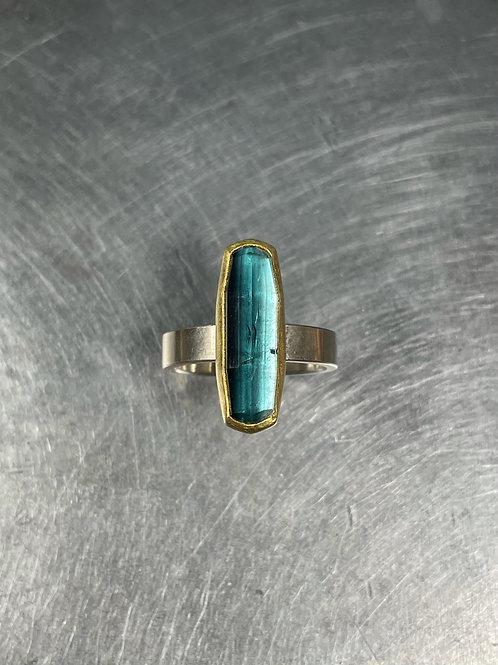 Blue Black Tourmaline Ring