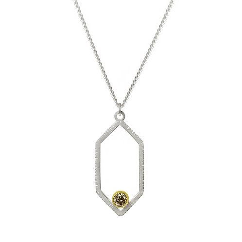 Hexagon Brown Diamond Pendant