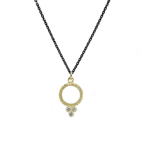 Circle and Three Diamond Pendant