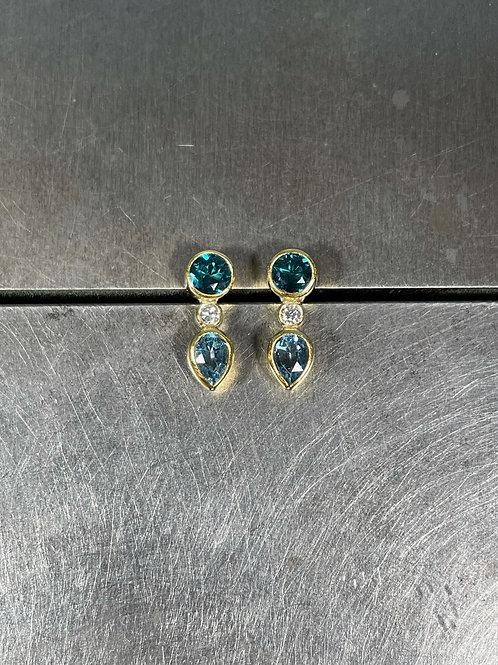 Tourmaline, Aquamarine, Diamond Stud Earrings