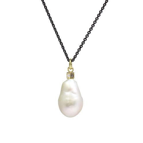 Pearl and Diamond Cube Pendant