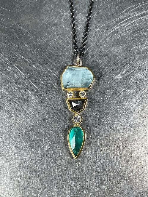 Aquamarine, Emerald, Grey and White Diamond Pendant