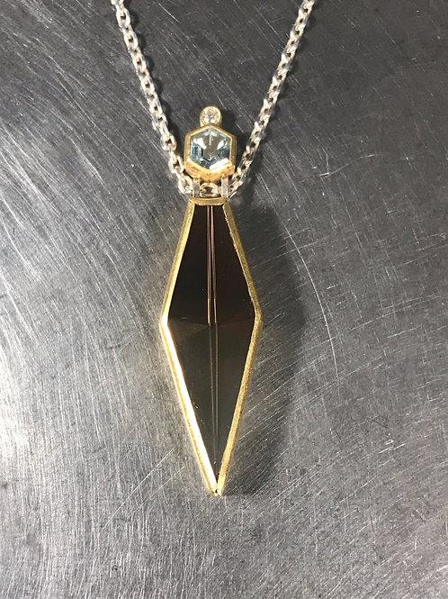 Smokey Quartz, Aquamarine, Diamond Pendant