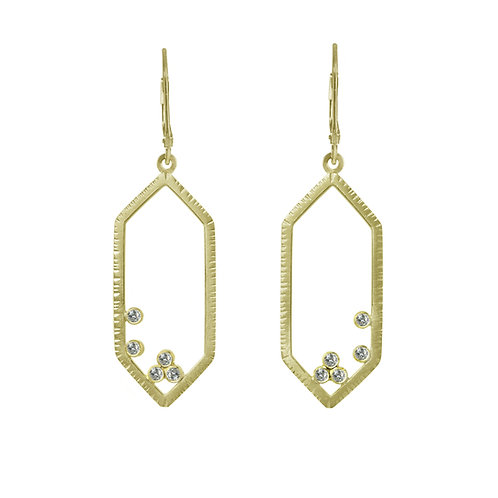 Hexagon Earrings with Ten White Diamonds