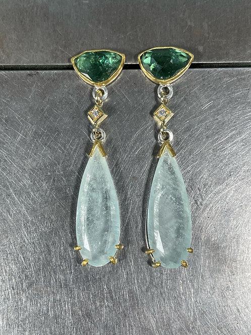 Aquamarine, Tourmaline, and Diamond Earrings