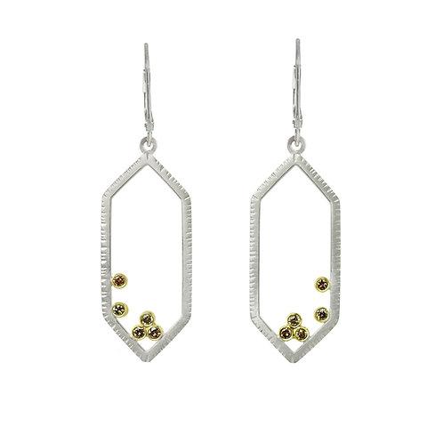 Hexagon Earrings with Ten Brown Diamonds
