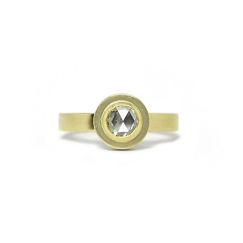 Side Halo Rose Cut Diamond Ring