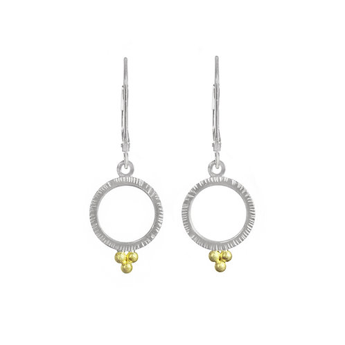 Circle Earrings with Three Gold Ball