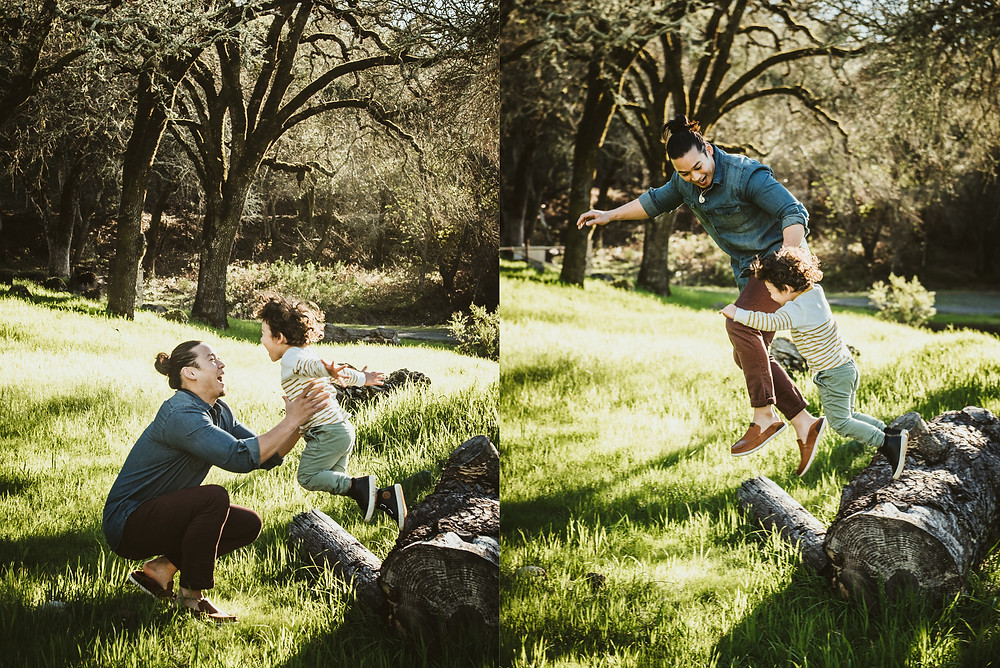 Napa family photographer, father and son, jumping