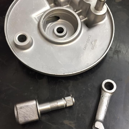 Lambretta front hub assembly stripped and Vapour blast ready for paint and rebuild