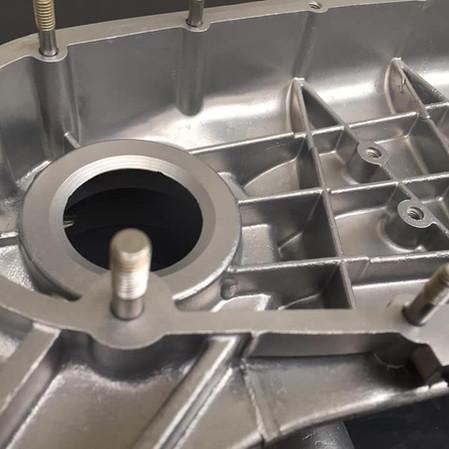 Vapour blasted Lambretta engine close up