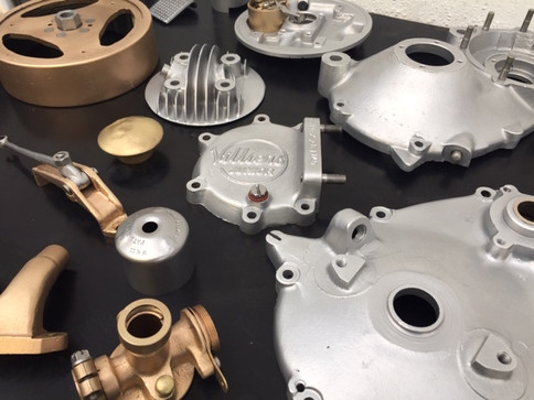 Vapour blasted Villiers junior engine parts from a Welbike