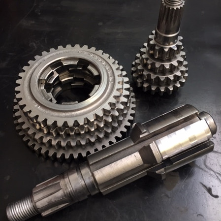 Lambretta gearbox components vapour blasted