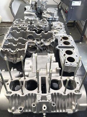 Honda CB350 engine vapour blast cleaned