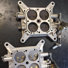Holley carburettor bottoms before and after aqua blasting