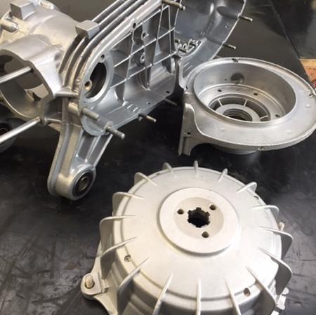 Lambretta engine and hub Vapour Blasted