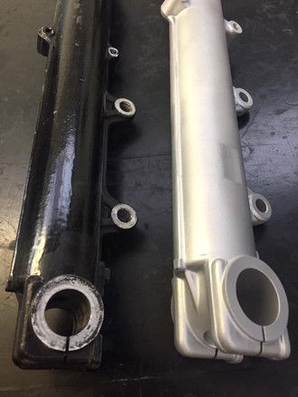 BMW lower forks before and after vapour blasting