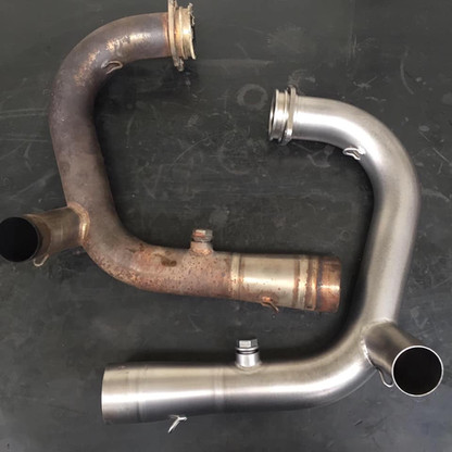 BMW titanium exhaust pipes before and after vapour blasting