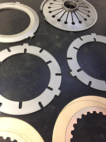 Vapour blasted clutch plates from a Villiers Starmaker and degrease of the clutch basket