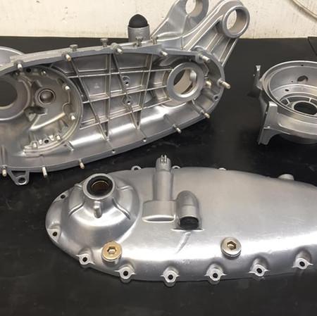 Aqua blasted Lambretta engine casings
